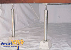Crawl space structural support jacks installed in Lancaster