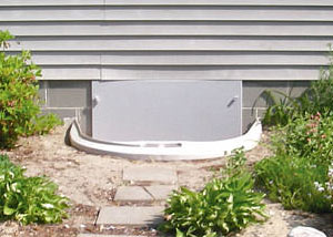 plastic crawl space access well installed in a San Diego crawl space